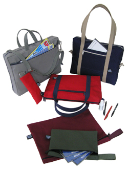 A group shot of briefcases and folios